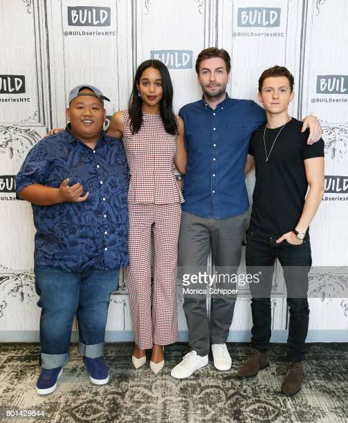 Actors Jacob Batalon Laura Harrier Tom Holland and director Jon Watts discuss 'SpiderMan Homecoming' at Build Studio on June 26 2017 in New York City