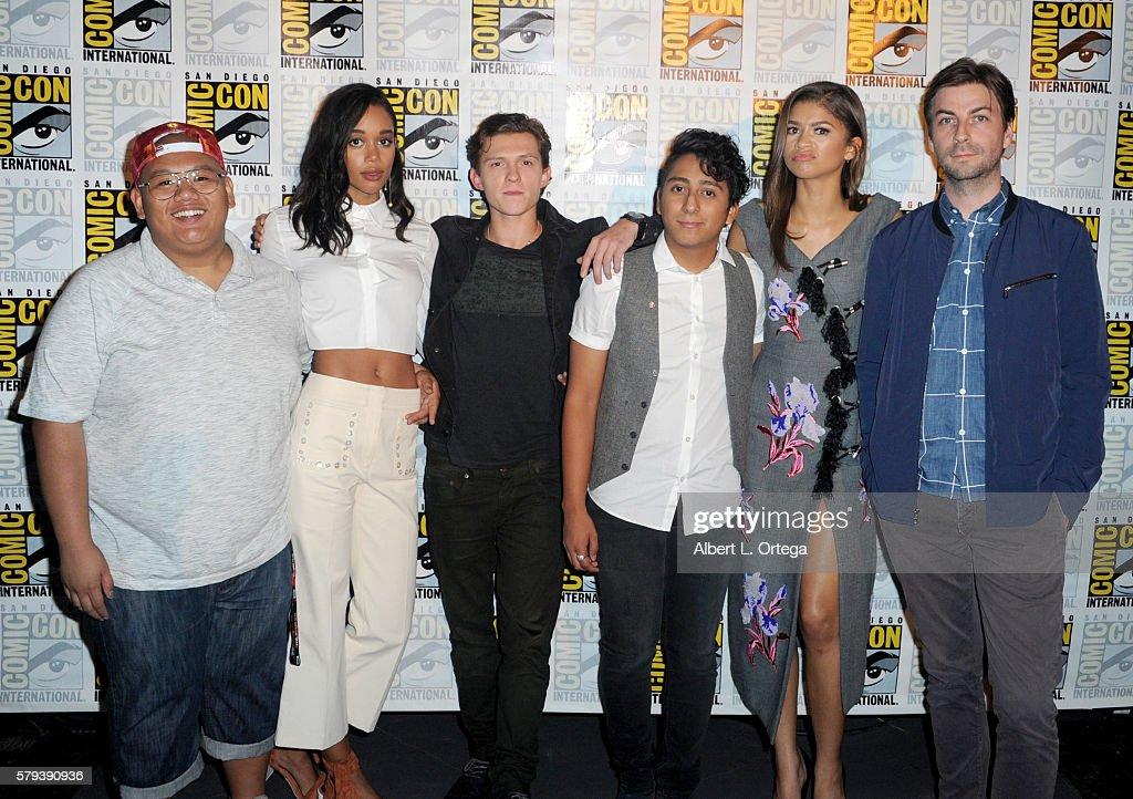 Actors Jacob Batalon Laura Harrier Tom Holland Tony Revolori Zendaya and director Jon Watts attend the Marvel Studios presentation during ComicCon...