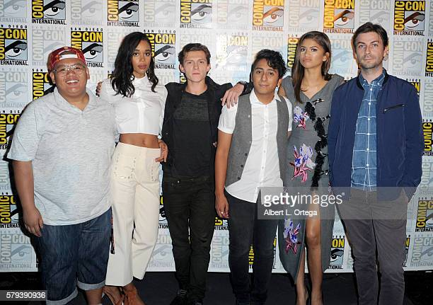 Actors Jacob Batalon Laura Harrier Tom Holland Tony Revolori Zendaya and director Jon Watts attend the Marvel Studios presentation during ComicCon...