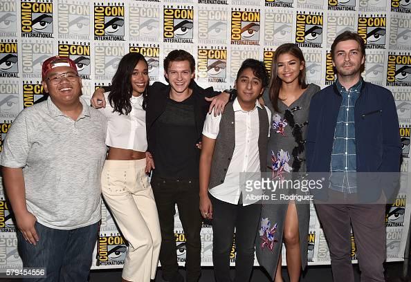 "Actors Jacob Batalon Laura Harrier Tom Holland Tony Revolori Zendaya and director Jon Watts from Marvel Studios' 'SpiderMan Homecoming"" attend the..."