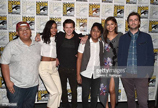 "Actors Jacob Batalon Laura Harrier Tom Holland Tony Revolori Zendaya and director Jon Watts from Marvel Studios' 'SpiderMan Homecoming"" attend the..."