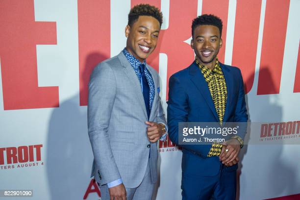 Actors Jacob Latimore and Algee Smith arrive at the premiere for 'Detroit' at the Fox Theater on July 25 2017 in Detroit Michigan