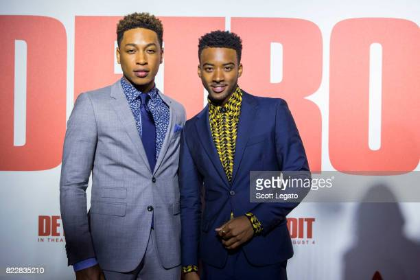 Actors Jacob Latimore and Algee Smith attend the 'Detroit' world premiere at Fox Theatre on July 25 2017 in Detroit Michigan