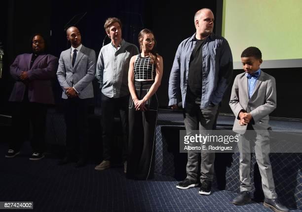 Actors Jacob MingTrent Kendrick Sampson Jack Davenport Lyndon Smith Executive Producer Tom Kapinos and actor Lonnie Chavis of 'White Famous' during...