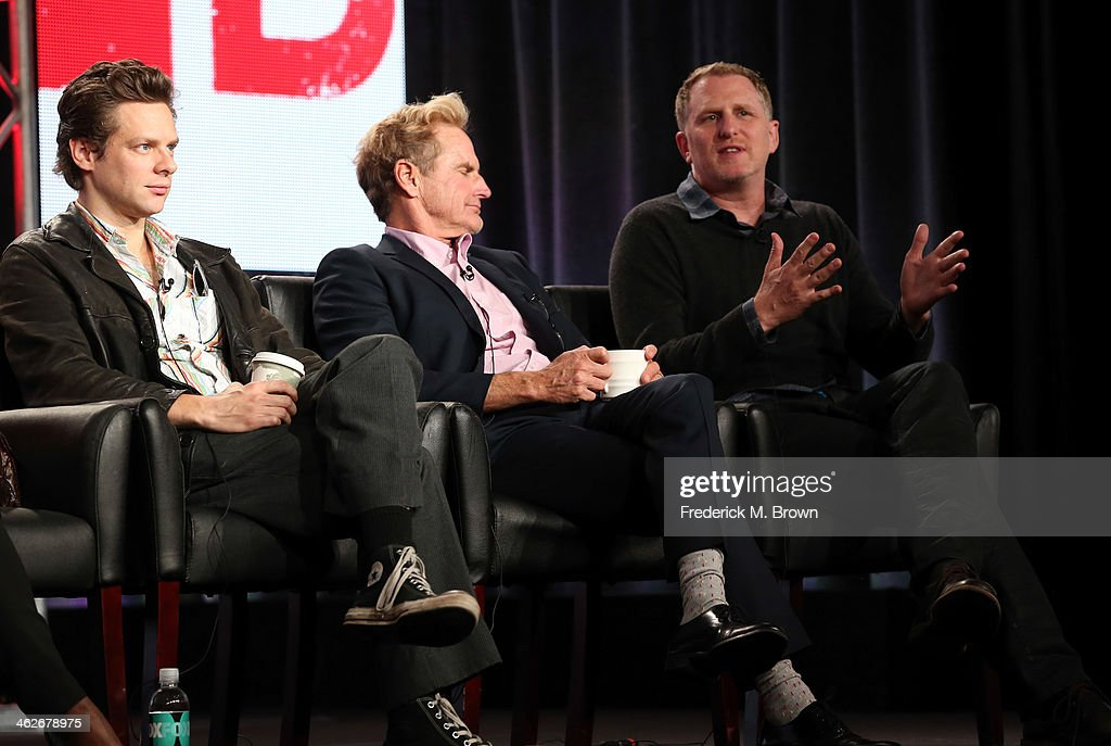 Actors Jacob Pitts, Jere Burns and Michael Rapaport of the television show 'Justified' onstage during the FX portion of the 2014 Television Critics Association Press Tour at the Langham Hotel on January 14, 2014 in Pasadena, California.