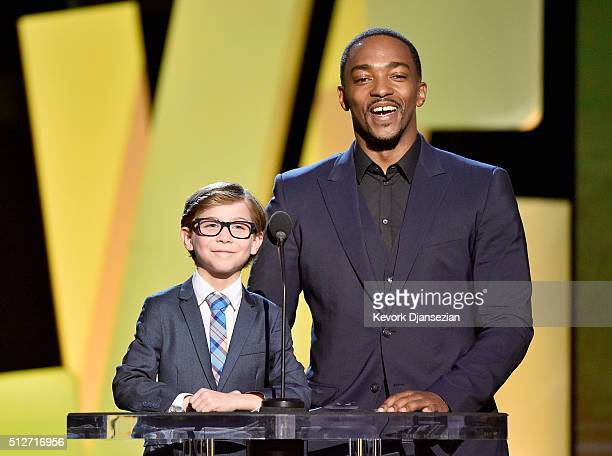 Actors Jacob Tremblay and Anthony Mackie speak onstage during the 2016 Film Independent Spirit Awards on February 27 2016 in Santa Monica California