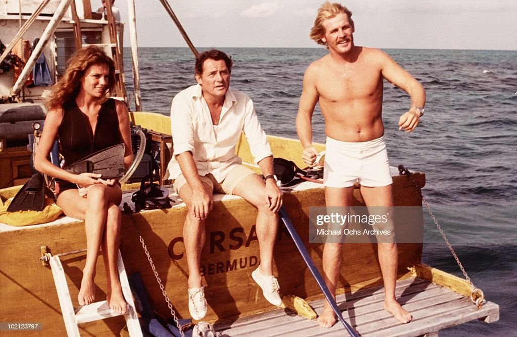 Actors (L-R) Jacqueline Bisset, Robert Shaw and Nick Nolte in a scene from the movie 'The Deep' in 1977 in Australia.