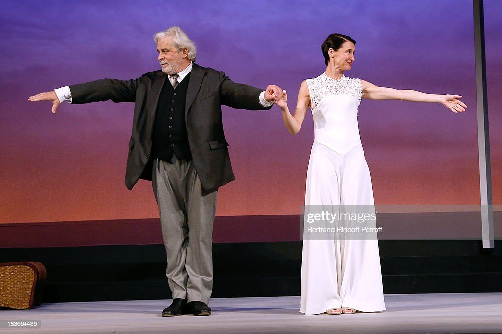 Actors <a gi-track='captionPersonalityLinkClicked' href=/galleries/search?phrase=Jacques+Weber&family=editorial&specificpeople=672880 ng-click='$event.stopPropagation()'>Jacques Weber</a> and Anne Brochet at the end of 'La Dame De La Mer' : Gala play to benefit Care Humanitarian Organization, held in Montparnasse Theater in Paris on October 8, 2013 in Paris, France.