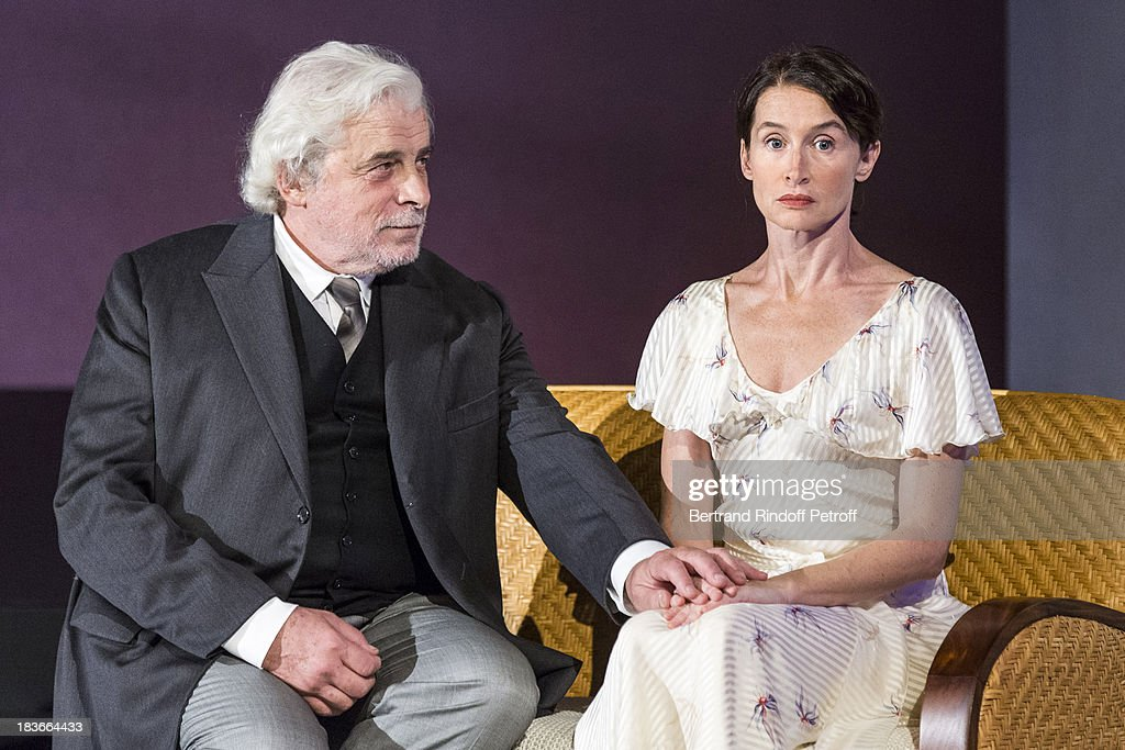 Actors <a gi-track='captionPersonalityLinkClicked' href=/galleries/search?phrase=Jacques+Weber&family=editorial&specificpeople=672880 ng-click='$event.stopPropagation()'>Jacques Weber</a> and Anne Brochet performing in 'La Dame De La Mer' : Gala play to benefit Care Humanitarian Organization, held in Montparnasse Theater in Paris on October 8, 2013 in Paris, France.