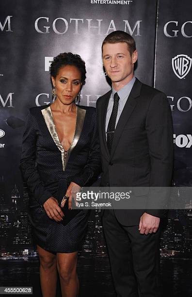 Actors Jada Pinkett Smith and Benjamin McKenzie attend the 'Gotham' series premiere at The New York Public Library on September 15 2014 in New York...