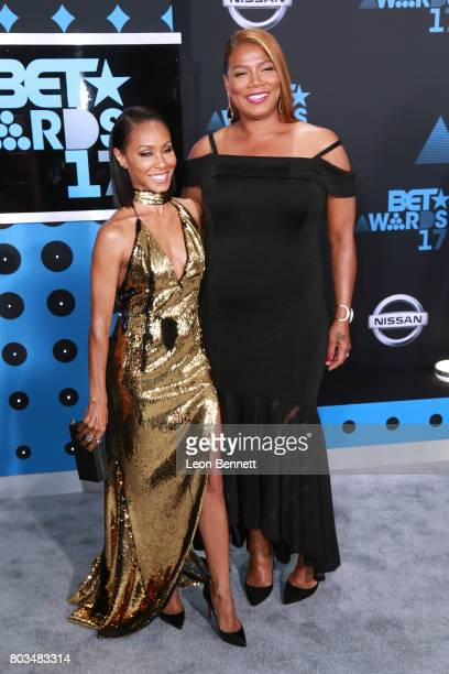 Actors Jada Pinkett Smith and Queen Latifah arrives at the 2017 BET Awards at Microsoft Theater on June 25 2017 in Los Angeles California