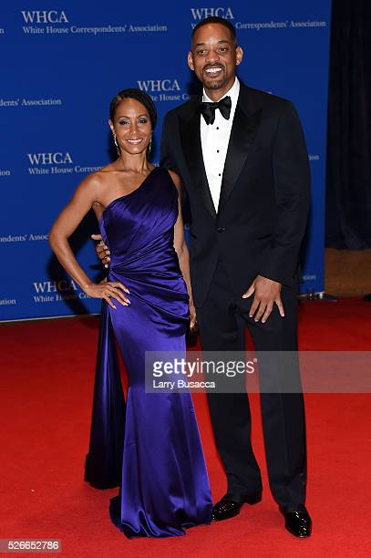 Actors Jada Pinkett Smith and Will Smith attend the 102nd White House Correspondents' Association Dinner on April 30 2016 in Washington DC