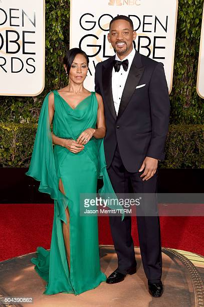 Actors Jada Pinkett Smith and Will Smith attend the 73rd Annual Golden Globe Awards held at the Beverly Hilton Hotel on January 10 2016 in Beverly...