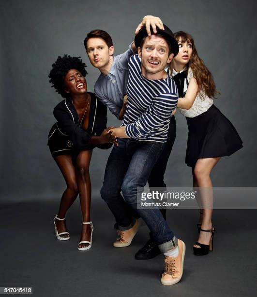 Actors Jade Eshete Samuel Barnett Elijah Wood and Hannah Marks from 'Dirk Gently' are photographed for Entertainment Weekly Magazine on July 23 2016...