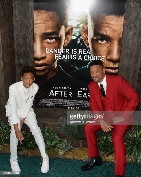 Actors Jaden Smith and Will Smith attend the 'After Earth' premiere at Ziegfeld Theater on May 29 2013 in New York City