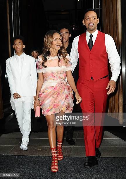 Actors Jaden Smith Jada Smith and Will Smith are seen outside Trump SoHo Hotel on May 29 2013 in New York City