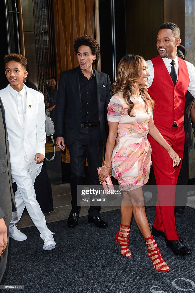 Actors Jaden Smith, Trey Smith, Jada Pinkett Smith, and Will Smith leave their Soho hotel on May 29, 2013 in New York City.