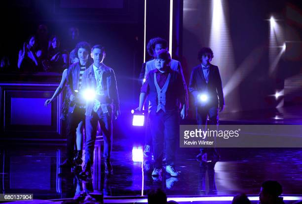 Actors Jaeden Lieberher Finn Wolfhard Sophia Lillis Jeremy Ray Taylor Chosen Jacobs Wyatt Oleff and Jack Dylan Grazer walk onstage during the 2017...