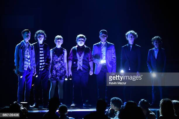 Actors Jaeden Lieberher Finn Wolfhard Sophia Lillis Jeremy Ray Taylor Chosen Jacobs Wyatt Oleff and Jack Dylan Grazer pose onstage during the 2017...