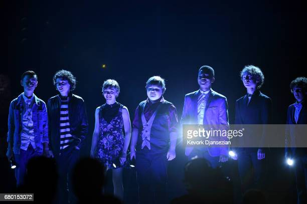 Actors Jaeden Lieberher Finn Wolfhard Sophia Lillis Jeremy Ray Taylor Chosen Jacobs Wyatt Oleff and Jack Dylan Grazer speak onstage during the 2017...