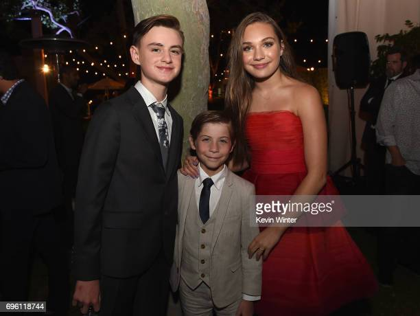 Actors Jaeden Lieberher Jacob Tremblay and Maddie Ziegler attend the Opening Night Party during the 2017 Los Angeles Film Festival at Culver Studios...