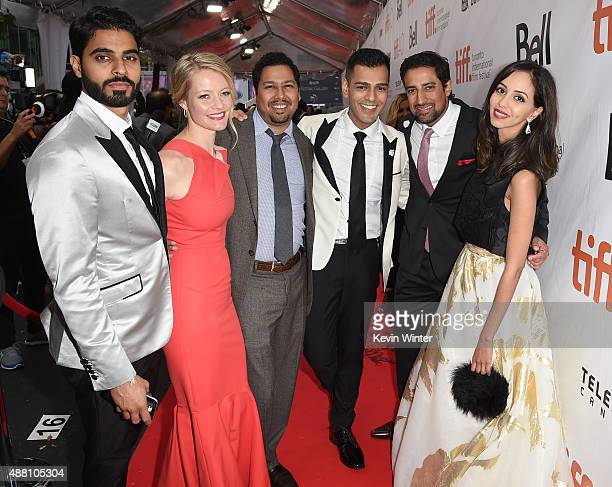 Actors Jag Bal Sarah Allen Dileep Rao Gabe Grey Steve Dhillon and Gia Sandhu attend the 'Beeba Boys' premiere during the 2015 Toronto International...