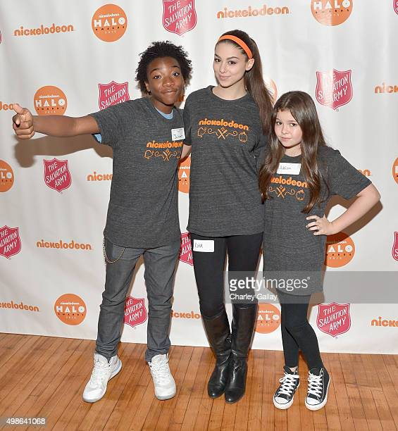 Actors Jaheem Toombs Kira Kosarin and Addison Riecke attend 'The Salvation Army's Feast Of Sharing Holiday Dinner' presented by Nickelodeon HALO at...