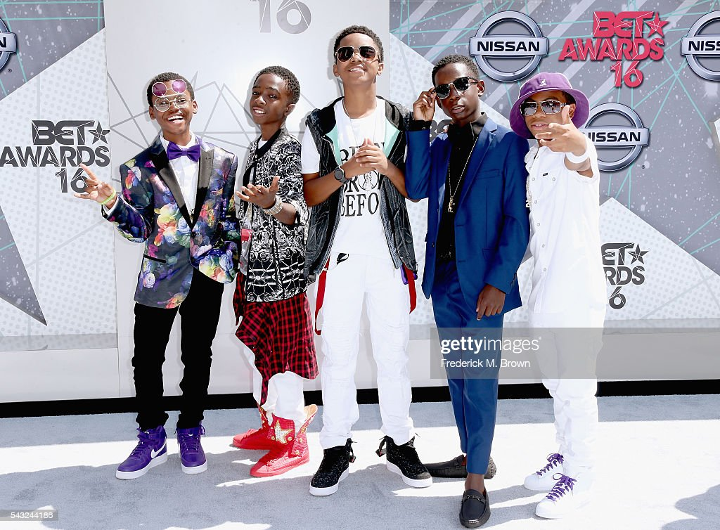 Actors Jahi Di'Allo Winston, Caleb McLaughlin, Myles Truitt, Tyler Williams, and Dante Hoagland attend the 2016 BET Awards at the Microsoft Theater on June 26, 2016 in Los Angeles, California.