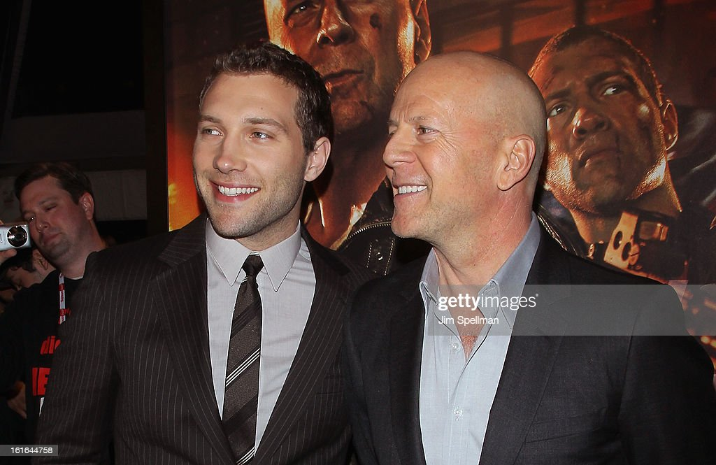 Actors <a gi-track='captionPersonalityLinkClicked' href=/galleries/search?phrase=Jai+Courtney&family=editorial&specificpeople=6723038 ng-click='$event.stopPropagation()'>Jai Courtney</a> and <a gi-track='captionPersonalityLinkClicked' href=/galleries/search?phrase=Bruce+Willis&family=editorial&specificpeople=202185 ng-click='$event.stopPropagation()'>Bruce Willis</a> attend the 'A Good Day To Die Hard' Fan Celebration at AMC Empire on February 13, 2013 in New York City.