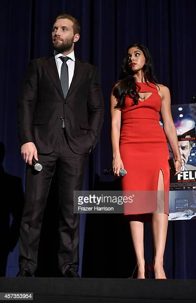 Actors Jai Courtney Sarah Roberts attend Australians in Film present the Premiere Of 'Felony' at Harmony Gold Theatre on October 16 2014 in Los...
