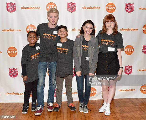 Actors Jailen Bates Ryan Cargill Ethan Estrada Autumn Wendel and Kennedy Lea Slocum attend 'The Salvation Army's Feast Of Sharing Holiday Dinner'...