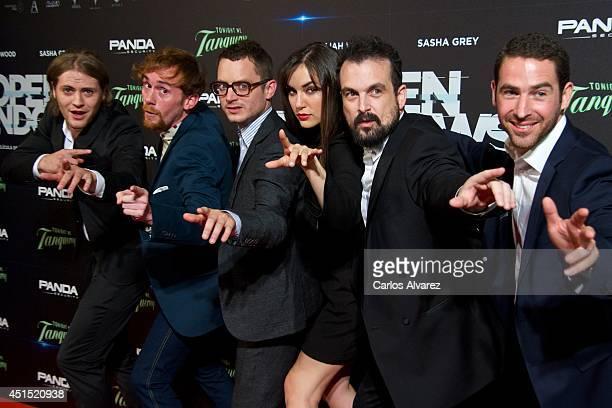 Actors Jaime Olias Daniel Perez Prada Elijah Wood Sasha Grey director Nacho Vigalondo and actor Ivan Gonzalez attend the 'Open Windows' premiere at...