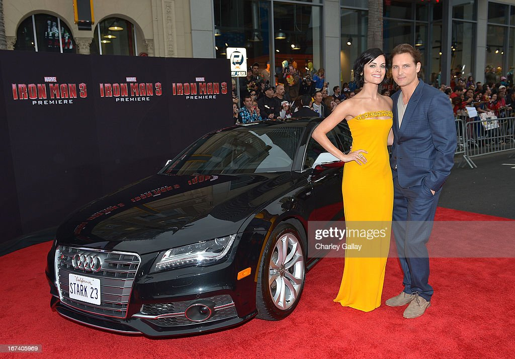 Actors Jaimie Alexander (L) and Peter Facinelli attend the U.S. Premiere of Marvel's Iron Man 3 hosted by Audi at the El Capitan Theatre on April 24, 2013 in Hollywood, California.