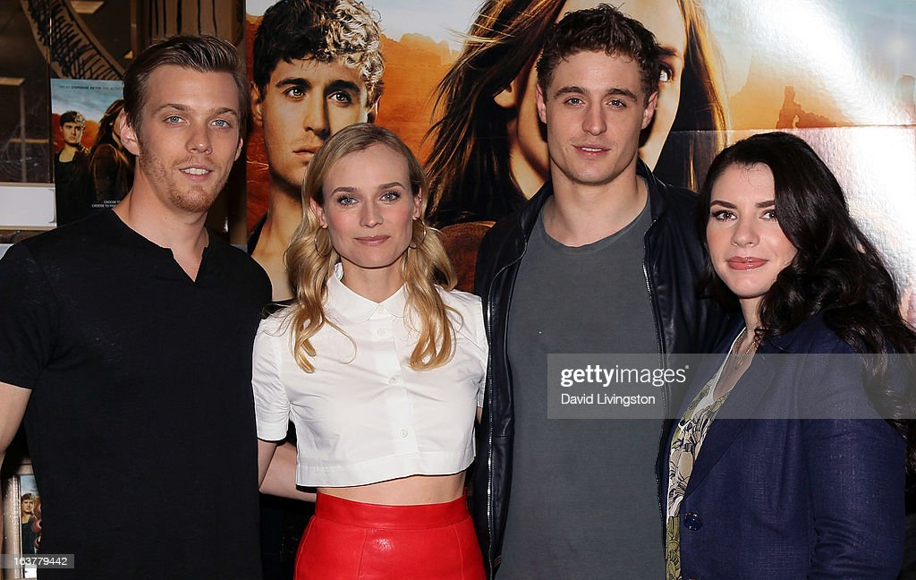 Actors <a gi-track='captionPersonalityLinkClicked' href=/galleries/search?phrase=Jake+Abel&family=editorial&specificpeople=4684398 ng-click='$event.stopPropagation()'>Jake Abel</a>, Diane Kruger and <a gi-track='captionPersonalityLinkClicked' href=/galleries/search?phrase=Max+Irons&family=editorial&specificpeople=762929 ng-click='$event.stopPropagation()'>Max Irons</a> and author <a gi-track='captionPersonalityLinkClicked' href=/galleries/search?phrase=Stephenie+Meyer&family=editorial&specificpeople=5476076 ng-click='$event.stopPropagation()'>Stephenie Meyer</a> attend a signing for Meyer's book 'The Host' at Barnes & Noble bookstore at The Grove on March 15, 2013 in Los Angeles, California.