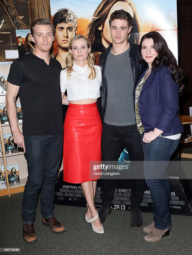 Actors Jake Abel, Diane Kruger and Max Irons and author Stephenie Meyer attend a signing for Meyer's book 'The Host' at Barnes & Noble bookstore at The Grove on March 15, 2013 in Los Angeles, California.