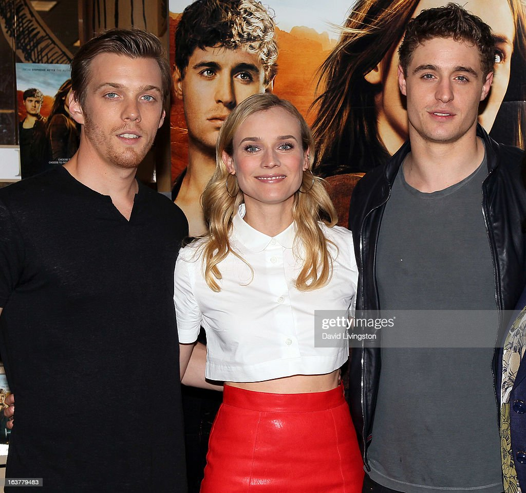 Actors Jake Abel, Diane Kruger and Max Irons attend a signing for Stephenie Meyer's book 'The Host' at Barnes & Noble bookstore at The Grove on March 15, 2013 in Los Angeles, California.
