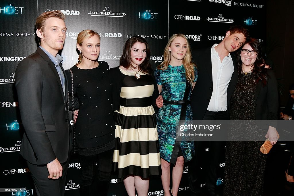 Actors Jake Abel, Diane Kruger, author Stephenie Meyer, actors Saoirse Ronan and Max Irons attend The Cinema Society & Jaeger-LeCoultre Host A Screening Of Open Road Films' 'The Host' at the Tribeca Grand Hotel - Screening Room on March 27, 2013 in New York City.