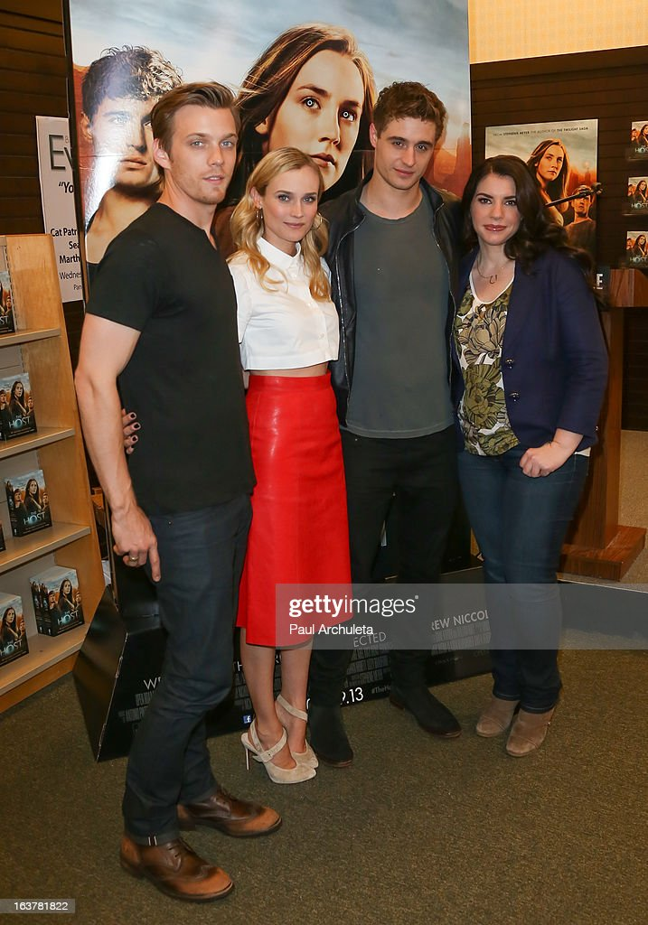 Actors Jake Abel, Diane Kruger, Max Irons and Author Stephenie Meyer sign copies of 'The Host' at Barnes & Noble bookstore at The Grove on March 15, 2013 in Los Angeles, California.