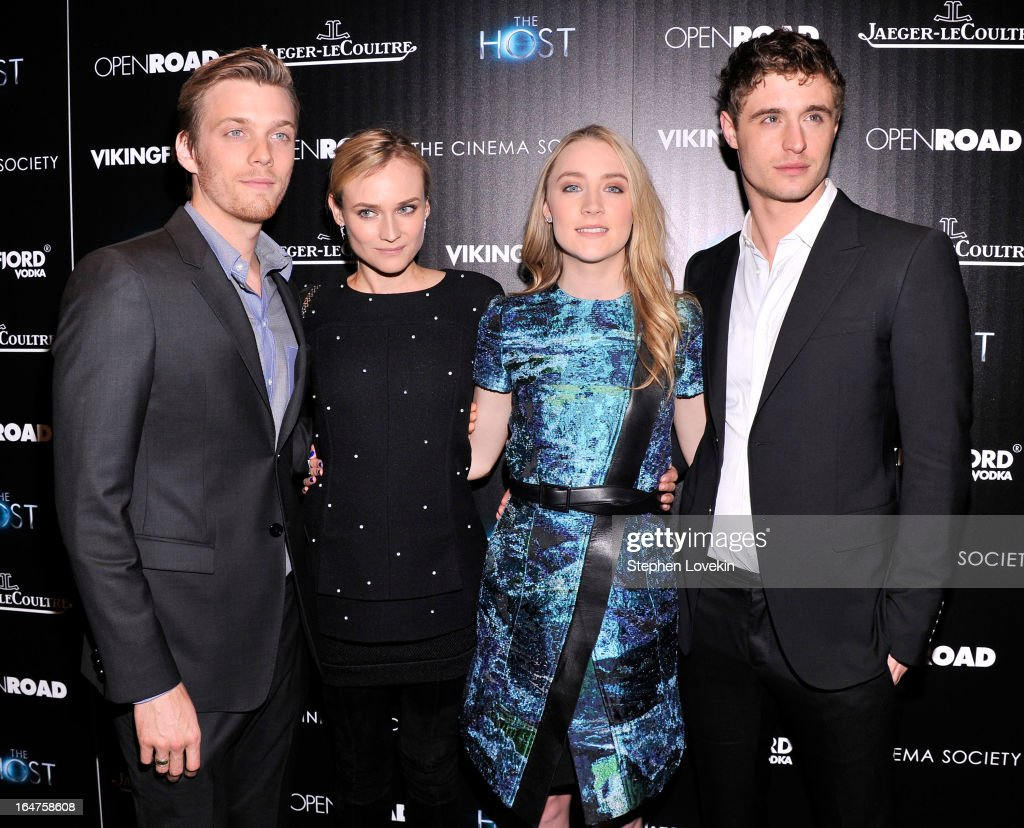 Actors <a gi-track='captionPersonalityLinkClicked' href=/galleries/search?phrase=Jake+Abel&family=editorial&specificpeople=4684398 ng-click='$event.stopPropagation()'>Jake Abel</a>, <a gi-track='captionPersonalityLinkClicked' href=/galleries/search?phrase=Diane+Kruger&family=editorial&specificpeople=202640 ng-click='$event.stopPropagation()'>Diane Kruger</a>, <a gi-track='captionPersonalityLinkClicked' href=/galleries/search?phrase=Saoirse+Ronan&family=editorial&specificpeople=4475637 ng-click='$event.stopPropagation()'>Saoirse Ronan</a> and <a gi-track='captionPersonalityLinkClicked' href=/galleries/search?phrase=Max+Irons&family=editorial&specificpeople=762929 ng-click='$event.stopPropagation()'>Max Irons</a> attend The Cinema Society and Jaeger-LeCoultre Hosts A Screening Of 'The Host' at Tribeca Grand Hotel on March 27, 2013 in New York City.