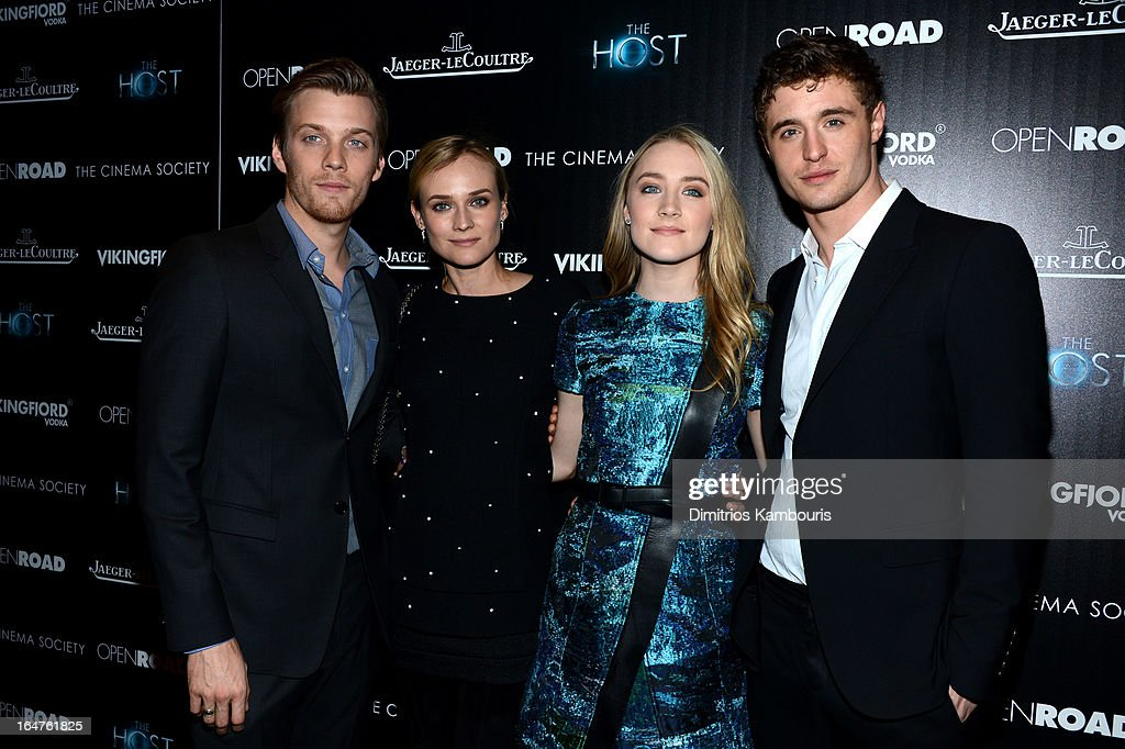 Actors Jake Abel, <a gi-track='captionPersonalityLinkClicked' href=/galleries/search?phrase=Diane+Kruger&family=editorial&specificpeople=202640 ng-click='$event.stopPropagation()'>Diane Kruger</a>, Saoirse Ronan and Max Irons attend The Cinema Society and Jaeger-LeCoultre screening of Open Road Films' 'The Host' at Tribeca Grand Hotel on March 27, 2013 in New York City.