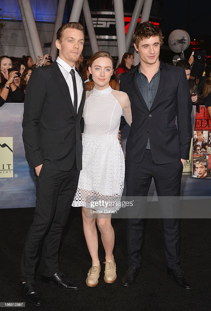 Actors Jake Abel, Saoirse Ronan and Max Irons arrive at 'The Twilight Saga: Breaking Dawn - Part 2' Los Angeles premiere at the Nokia Theatre L.A. Live on November 12, 2012 in Los Angeles, California.