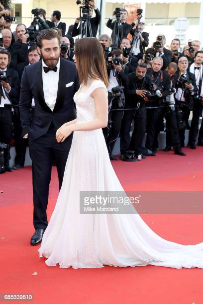 Actors Jake Gyllenhaal and Lily Collins attend the 'Okja' screening during the 70th annual Cannes Film Festival at Palais des Festivals on May 19...