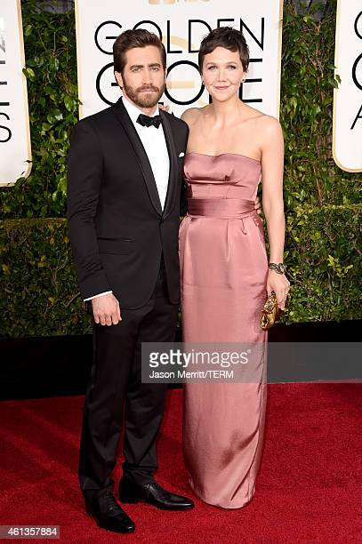 Actors Jake Gyllenhaal and Maggie Gyllenhaal attend the 72nd Annual Golden Globe Awards at The Beverly Hilton Hotel on January 11 2015 in Beverly...