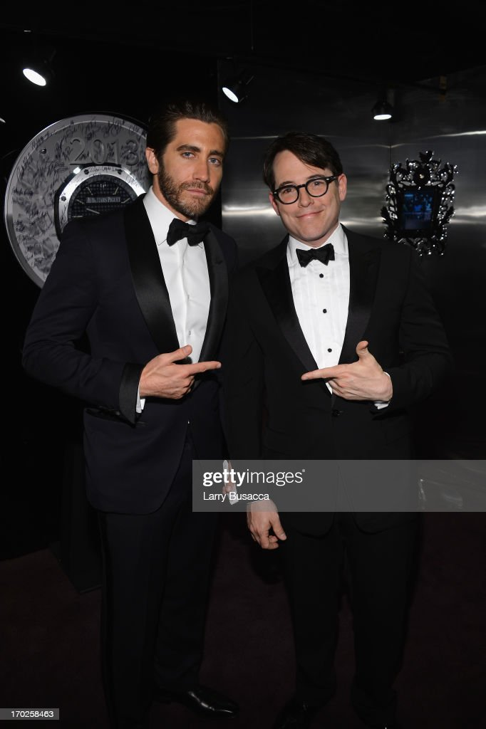 Actors <a gi-track='captionPersonalityLinkClicked' href=/galleries/search?phrase=Jake+Gyllenhaal&family=editorial&specificpeople=201833 ng-click='$event.stopPropagation()'>Jake Gyllenhaal</a> and <a gi-track='captionPersonalityLinkClicked' href=/galleries/search?phrase=Matthew+Broderick&family=editorial&specificpeople=201912 ng-click='$event.stopPropagation()'>Matthew Broderick</a> attend The 67th Annual Tony Awards green room at Radio City Music Hall on June 9, 2013 in New York City.