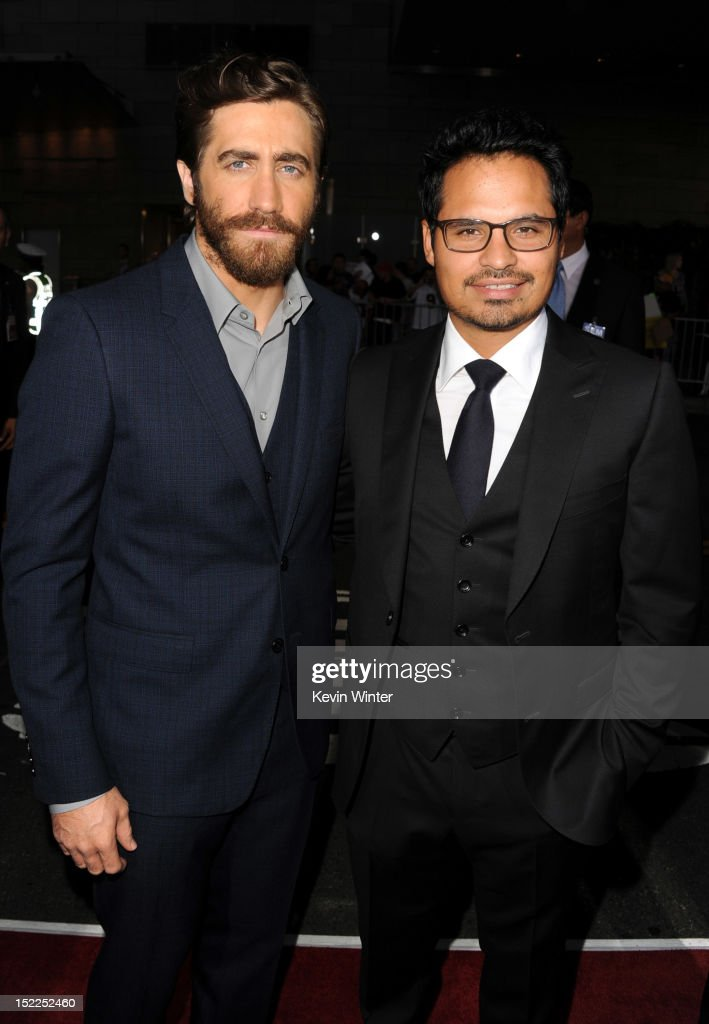 Actors <a gi-track='captionPersonalityLinkClicked' href=/galleries/search?phrase=Jake+Gyllenhaal&family=editorial&specificpeople=201833 ng-click='$event.stopPropagation()'>Jake Gyllenhaal</a> and Michael Pena arrive at the premiere of Open Road Films' 'End of Watch' at Regal Cinemas L.A. Live on September 17, 2012 in Los Angeles, California.