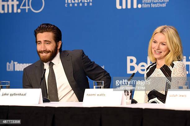 Actors Jake Gyllenhaal and Naomi Watts speak onstage during the 'Demolition' press conference at the 2015 Toronto International Film Festival at TIFF...