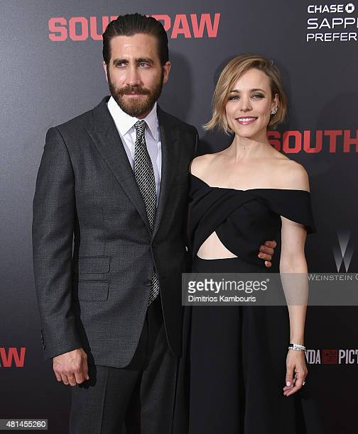 Actors Jake Gyllenhaal and Rachel McAdams attend the 'Southpaw' New York Premiere at AMC Loews Lincoln Square on July 20 2015 in New York City
