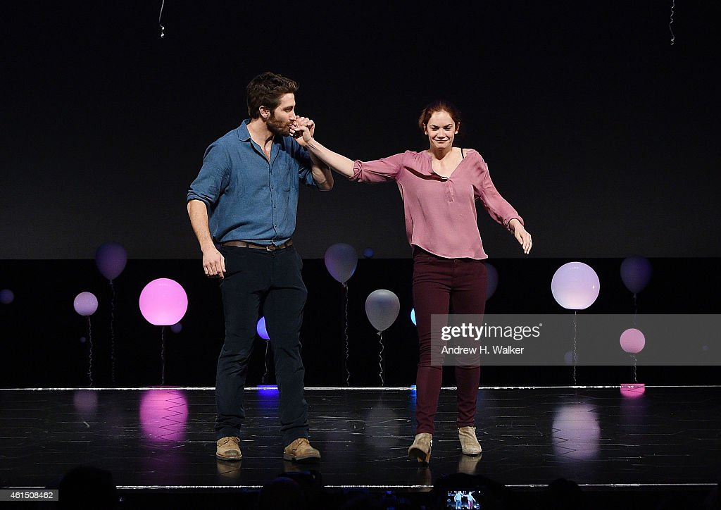 Actors Jake Gyllenhaal and Ruth Wilson attend 'Constellations' Broadway opening night curtain call at Samuel J Friedman Theatre on January 13 2015 in...