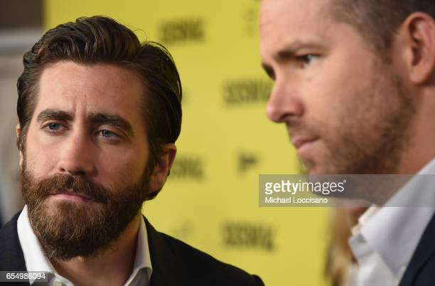 Actors Jake Gyllenhaal and Ryan Reynolds attend the 'Life' premiere during 2017 SXSW Conference and Festivals at the ZACH Theatre on March 18 2017 in...