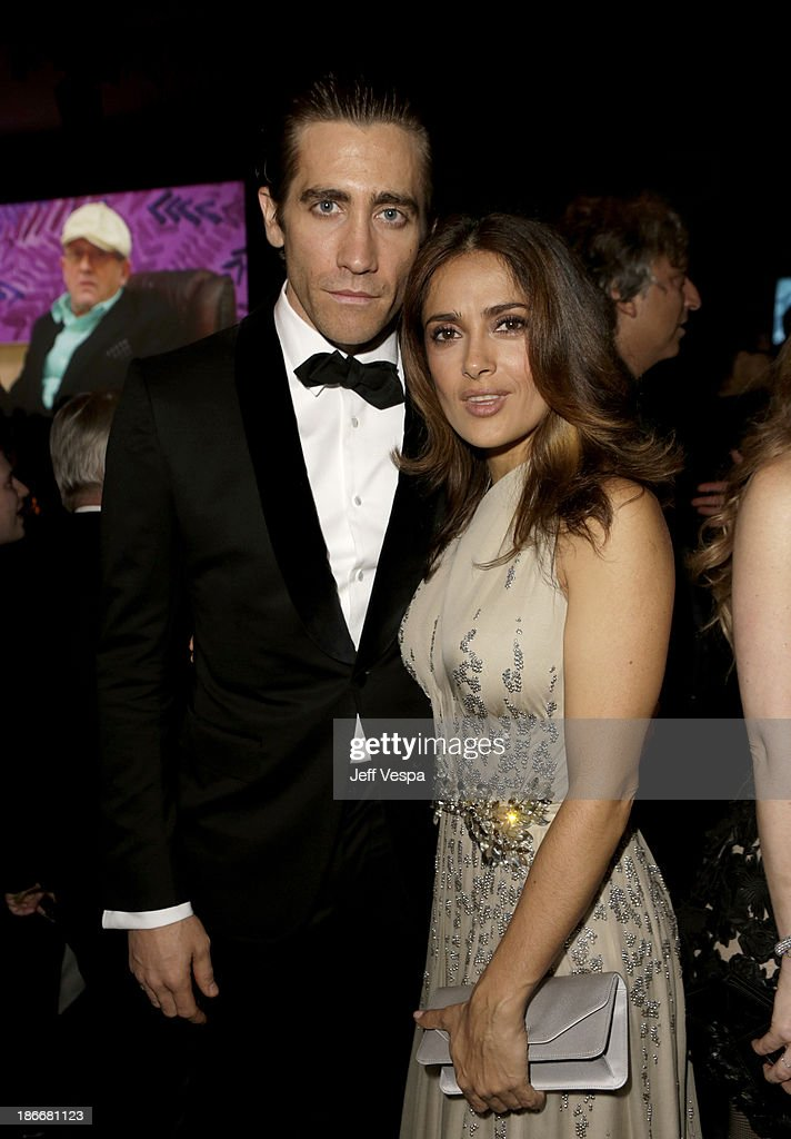 Actors <a gi-track='captionPersonalityLinkClicked' href=/galleries/search?phrase=Jake+Gyllenhaal&family=editorial&specificpeople=201833 ng-click='$event.stopPropagation()'>Jake Gyllenhaal</a> and <a gi-track='captionPersonalityLinkClicked' href=/galleries/search?phrase=Salma+Hayek&family=editorial&specificpeople=201844 ng-click='$event.stopPropagation()'>Salma Hayek</a> attend the LACMA 2013 Art + Film Gala honoring Martin Scorsese and David Hockney presented by Gucci at LACMA on November 2, 2013 in Los Angeles, California.